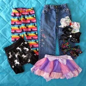 1-2 year girl clothes & bows 7 pieces